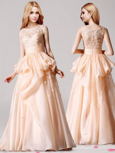 Exceptional Champagne Homecoming Dress Prom and For with Appliques and Pick Ups Scoop Sleeveless Zipper