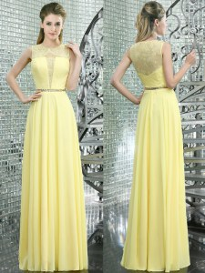 Amazing Scoop Floor Length Yellow Prom Dress Chiffon Sleeveless Beading and Lace