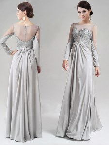 Latest Scoop Silver Chiffon Zipper Prom Evening Gown Long Sleeves Floor Length Beading and Lace