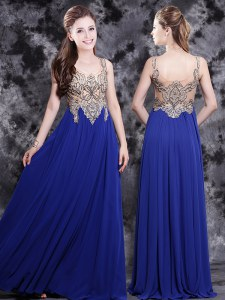 Charming Royal Blue Empire Chiffon Scoop Sleeveless Appliques Floor Length Side Zipper Dress for Prom