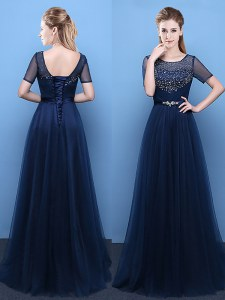 Scoop Short Sleeves Evening Dress Floor Length Beading Navy Blue Tulle