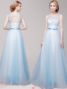 Fashion Scoop Floor Length Lace Up Prom Gown Light Blue for Prom with Appliques and Bowknot
