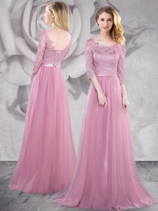 With Train Pink Prom Dresses Scoop Half Sleeves Brush Train Lace Up