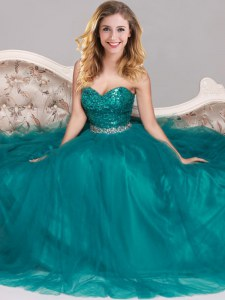 Peacock Green Sleeveless Floor Length Sequins Zipper Prom Gown