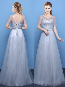High Quality Grey Scoop Lace Up Beading Prom Evening Gown Short Sleeves
