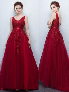 With Train Backless Prom Evening Gown Wine Red for Prom with Appliques and Belt Brush Train