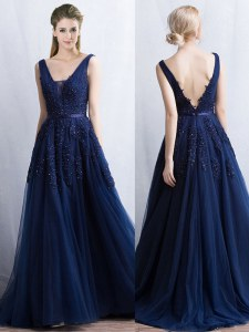 Customized Navy Blue Sleeveless With Train Appliques and Belt Backless Prom Dresses