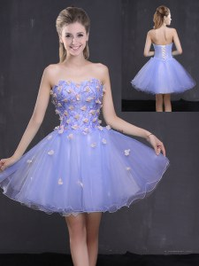 Comfortable Lavender Homecoming Dress Prom and Party and For with Appliques Sweetheart Sleeveless Lace Up