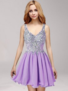 Mini Length Lavender Evening Dress Straps Sleeveless Side Zipper