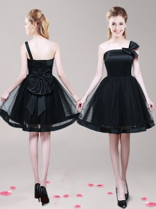 One Shoulder Bowknot Prom Party Dress Black Zipper Sleeveless Mini Length