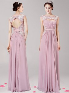 Free and Easy Scoop Pink Zipper Prom Dress Appliques Sleeveless Floor Length