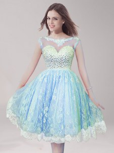 Light Blue Lace Backless Scoop Sleeveless Knee Length Prom Party Dress Beading