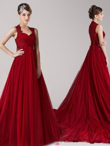 Straps Wine Red Empire Appliques Prom Evening Gown Side Zipper Tulle Sleeveless