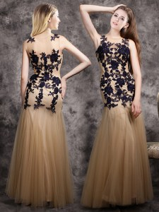 Eye-catching Mermaid Champagne Evening Dress Prom and For with Lace and Appliques Scoop Sleeveless Side Zipper