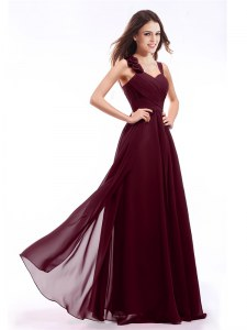 Modern Straps Sleeveless Zipper Burgundy Chiffon