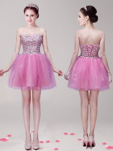 Clearance Lilac Lace Up Sweetheart Beading Cocktail Dress Tulle Sleeveless