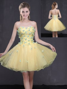 Comfortable Light Yellow A-line Sweetheart Sleeveless Organza Mini Length Lace Up Appliques