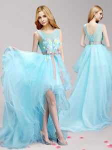 Fantastic Aqua Blue A-line Tulle Scoop Sleeveless Appliques and Bowknot High Low Lace Up Evening Dress