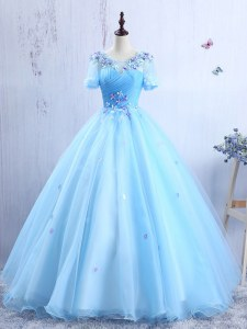 Custom Fit Baby Blue Scoop Neckline Appliques and Ruching Prom Gown Short Sleeves Lace Up