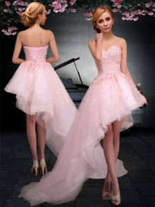 Baby Pink Tulle Lace Up Prom Evening Gown Sleeveless Asymmetrical Appliques