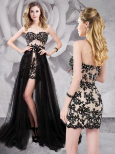 Tulle Sweetheart Sleeveless Brush Train Zipper Beading and Appliques Prom Dress in Black