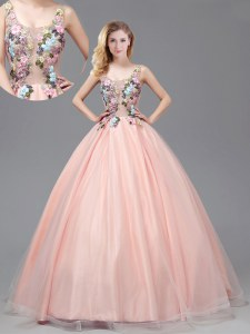 See Through Baby Pink A-line Straps Sleeveless Tulle Floor Length Criss Cross Appliques Sweet 16 Dresses