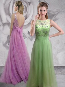 Admirable Backless Lilac Sleeveless Brush Train Beading With Train Prom Party Dress