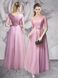 Pink Empire Scoop Half Sleeves Tulle Floor Length Lace Up Lace and Ruching and Bowknot Prom Gown
