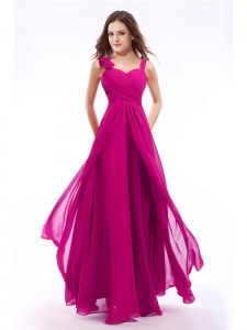 Excellent Straps Sleeveless Prom Dress Floor Length Hand Made Flower Fuchsia Chiffon