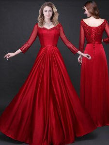 Wine Red Elastic Woven Satin Lace Up Prom Dresses Long Sleeves Floor Length Appliques and Belt