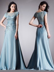 Fantastic Light Blue Empire Satin Scoop Cap Sleeves Appliques Floor Length Zipper Evening Dress