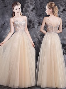 Custom Made Beading Prom Dress Champagne Zipper Sleeveless Floor Length