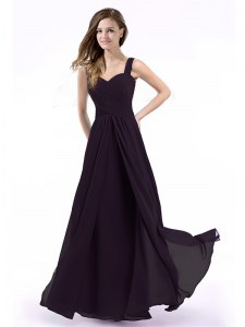 Purple Zipper Straps Ruching Prom Gown Chiffon Sleeveless