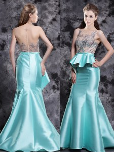 Brush Train Mermaid Prom Dress Aqua Blue Scoop Satin Sleeveless Zipper