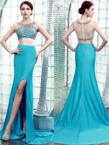 Unique Scoop Sleeveless With Train Beading Zipper Prom Dresses with Aqua Blue Brush Train