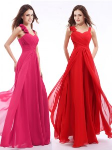 Clearance Hot Pink Empire Straps Sleeveless Chiffon Floor Length Zipper Hand Made Flower Prom Dresses