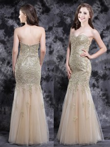 Chic Mermaid Champagne Sleeveless Floor Length Appliques Zipper Evening Dress