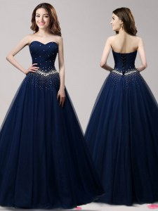 Trendy Sweetheart Sleeveless Evening Gowns Floor Length Beading Navy Blue Tulle
