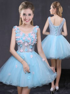 New Style Baby Blue V-neck Neckline Hand Made Flower Sleeveless Lace Up