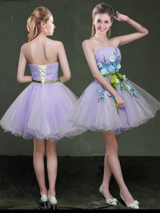 Lavender A-line Appliques and Belt Prom Dress Lace Up Organza Sleeveless Mini Length
