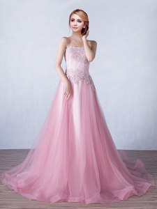 Pink Lace Up Strapless Appliques Tulle Sleeveless Brush Train