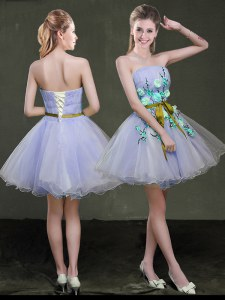 Lavender Prom Dress Prom and Party and For with Appliques and Belt Strapless Sleeveless Lace Up