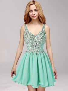 Elegant Apple Green A-line Chiffon Straps Sleeveless Beading and Ruffles Mini Length Side Zipper Prom Gown