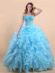 Custom Made Sleeveless Floor Length Appliques and Ruffles Lace Up Sweet 16 Quinceanera Dress with Light Blue