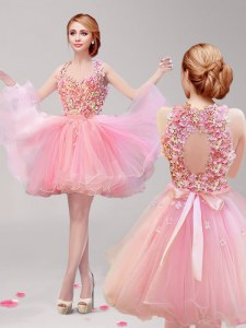 Stunning Pink Halter Top Backless Ruffles and Hand Made Flower Dress for Prom Sleeveless