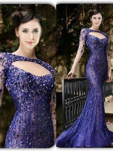 Mermaid Purple Bateau Zipper Beading Womens Evening Dresses Brush Train Long Sleeves