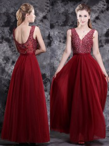Floor Length Empire Sleeveless Wine Red Dress for Prom Side Zipper