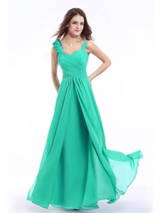 On Sale Straps Sleeveless Zipper Prom Dress Turquoise Chiffon