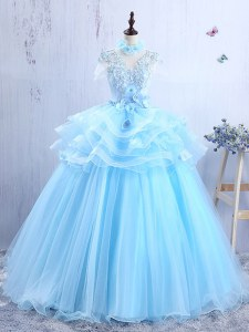 Hot Sale V-neck Short Sleeves Prom Party Dress Floor Length Appliques and Ruffles Baby Blue Organza