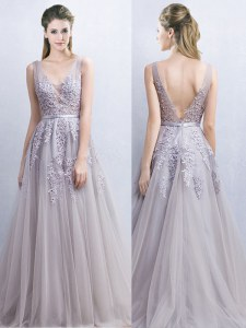 Luxurious Grey Tulle Backless V-neck Sleeveless With Brush Train Appliques and Belt